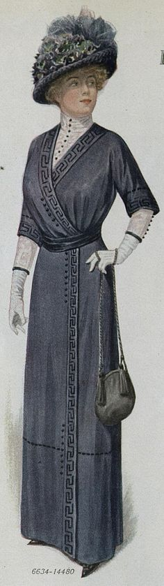 DARK BLUE SATIN DRESS WITH SOUTACHE TRIM, Ladies Home Journal, 1912