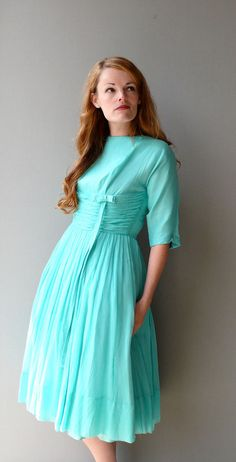 1950s Aqua Chiffon Dancing Dress