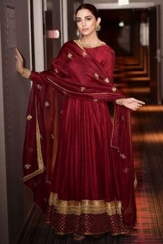Buy Maroon Silk Anarkali Suit With Dori Work - Salwar Kameez for Women from Andaaz Fashion at Best Prices. Pakistani Fashion Casual, Pakistani Dresses Casual, Pakistani Dress Design, Indian Fashion, Hijabi Gowns, Dress Indian Style, Indian Dresses, Indian Outfits, Indian Wear