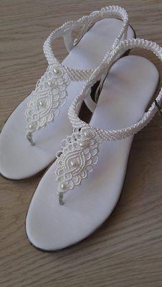 Zapatos de boda de las mujeres Macrame sandalias sandalias