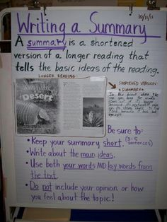 Great anchor chart for summarizing