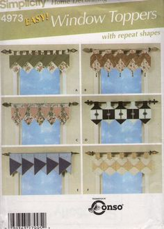 Free Us Ship Simplicity 4973 Sewing Pattern Easy Window Toppers Treatments Curtain Valances Repeat Shapes Tab Uncut New 2004