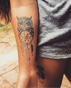 Cute owl tattoo #arm