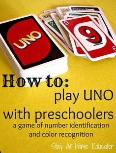 How to play UNO with preschoolers - a game of number identification and color recognition - Stay At Home Educator Numbers Preschool, Preschool At Home, Math Numbers, Preschool Classroom, Preschool Learning, Fun Learning, Preschool Activities, Activities For Kids, Early Learning