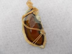 Close-up of my wire wrapped brown agate pendant-Available