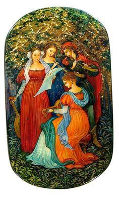 Fedoskino lacquer box, The musicians, Renaissance revival