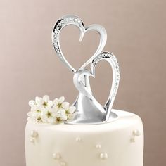 Twin Hearts Cake Topper   Double Heart Cake Toppers