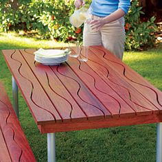 Picnic table project - love the waves. And cool tip about ready made legs from Ikea.