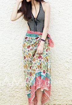 $5.74 Floral Print Color Block Bohemian Skirt For Women