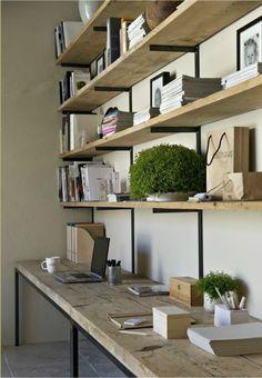 [kreyv]:Work Space Shelving, love the natural wood & open shelves. For the craft room? Office Shelf, Office Decor, Office Shelving, Office Ideas, Man Office, Wooden Shelves, Desk With Shelves, Office Bookshelves, Pine Shelves