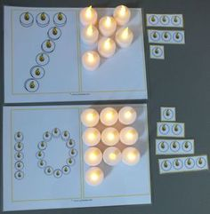 * Different lesson suggestions with counting cards and candles! * Different lesson suggestions with counting cards and candles! * Different lesson suggestions wit Hanukkah Crafts, Christmas Hanukkah, Christmas Crafts For Kids, Christmas Time, Montessori Kindergarten, Holiday Activities, Winter Theme, School Themes, Preschool Crafts