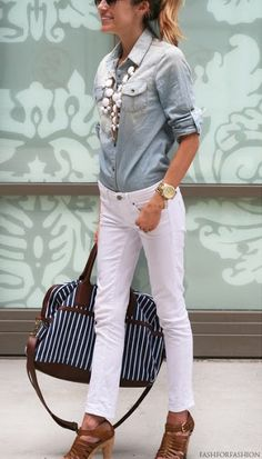 Chambray, statement necklace, white pant = great spring start.
