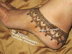 Simple Anklet Feet Ornament Henna Mehndi Design Tattoo Tutorial Step by Step - YouTube