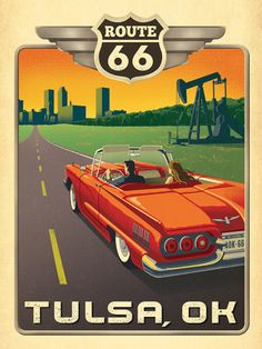 Tulsa, OK: Route 66 - Anderson Design Group has created an award-winning series of classic travel posters that celebrates the history and charm of America's greatest cities and national parks. Founder Joel Anderson directs a team of talented Nashville-based artists to keep the collection growing. This print celebrates America's favorite open road, Route 66 outside of Tulsa.
