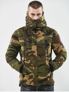 Men Military Camouflage Hooded Jacket Parkas Pilot Bomber Jacket Coat