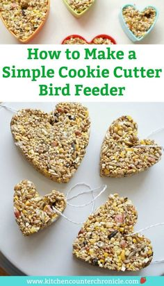 how to make a cookie cutter bird feeder with bird seed Feed the birds any time of the year with this simple cookie cutter bird feeder tutorial. The kids will love to help making a homemade bird seed bird feeder Bird Feeders For Kids To Make, Make A Bird Feeder, Bird Seed Feeders, Bird Feeder Craft, Homemade Bird Feeders, Bird Seed Crafts, Bird Seed Ornaments, Diy Garden Projects, Projects For Kids