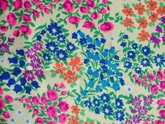 Vintage 60s Hot Pink Roses Daisy Tangerine Flower Fabric Pastel Green Tulip Light Weight Floral Print Acrylic Acetate Mod Dress Maker CBF