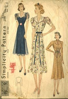 1938 dress pattern by Simplicity features a gored skirt, tailored bodice and puffed sleeves. Note the collar and pretty long-sleeved option. 1938 Fashion, Vintage Fashion, Edwardian Fashion, French Fashion, Gothic Fashion, Vintage Outfits, Vintage Dress, 1930s Dress, Illustration Mode