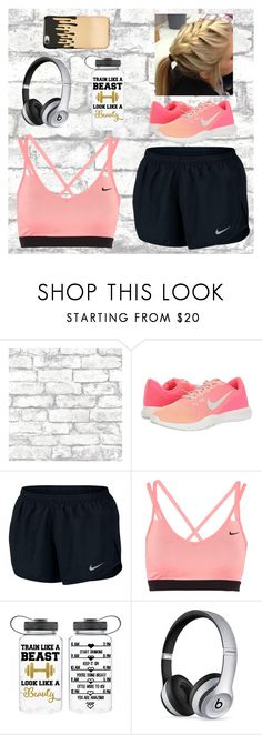 """Staying Fit"" by peace8sign ❤ liked on Polyvore featuring Brewster Home Fashions, NIKE, Beats by Dr. Dre and Missguided"