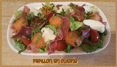 Recette: Salade melon, jambon cru, tomates cerise et fromage de chèvre Potato Salad, Entrees, Salsa, Healthy Recipes, Healthy Food, Tacos, Potatoes, Chicken, Ethnic Recipes