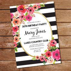 Black And White Stripe Floral Watercolor Birthday Invitation