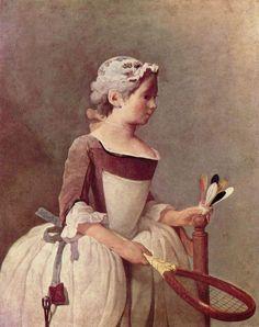 """Jean-Baptiste Siméon Chardin  Жан-Батист-Симеон Шарден - """"Момичето с федербала"""""""
