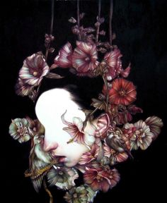 """""""A strong sense of freedom imprisons you"""" 2011, coloured pencils on paper, cm 55x45 - Marco Mazzoni"""