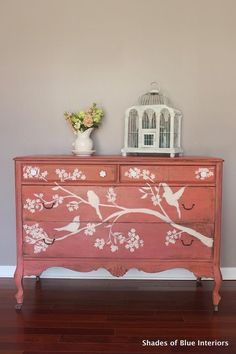 Wanna know what the perfect spring dresser looks like? This color, Apron Strings (Miss Mustard Seed Milk Paint) has some AWESOME color variation: from a raspberry color to coral to straight up orange. Chalk Paint Furniture, Hand Painted Furniture, Refurbished Furniture, Repurposed Furniture, Furniture Projects, Furniture Making, Furniture Makeover, Diy Furniture, Orange Furniture