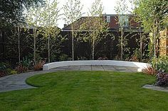 Young birch trees allow dappled light and tall screening in a natural manner Contemporary Garden Design London - Contemporary Garden Designers Portfolio - Josh Ward Garden Design - North London, London and UK Garden Design London, London Garden, Small Garden Design, Small Garden Trees Uk, Small Gardens, Garden Dividers, Contemporary Garden Rooms, Townhouse Garden, Gardens
