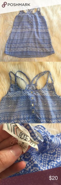 Francesca's Collections Blue Aztec Blouse Excellent condition with no wear and tons of life left! NO TRADES PLEASE Francesca's Collections Tops Blouses