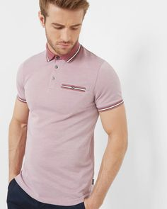 Striped trim polo shirt - Pink | Tops & T-shirts | Ted Baker
