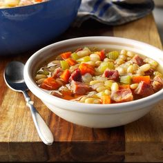 Neighborhood Bean Soup Recipe -Even though I'm single, I make multiple servings of everything. Actually, this tendency has helped me to get to know my neighbors. A few of them always volunteer to be my guinea pigs whenever I try out a new recipe or two. —Cheryl Trowbridge, Windsor, Ontario
