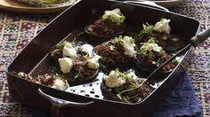 Caroline Velik's baked portabello mushrooms topped with quinoa and feta.