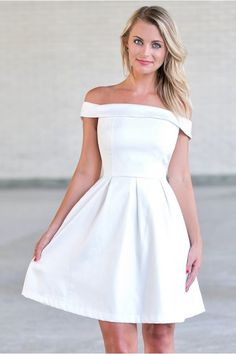 Off White Off the Shoulder Party Dress, Rehearsal Dinner Dress