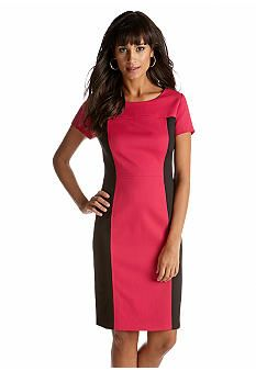 Jones New York Dress Short-Sleeved Color Block Sheath Dress