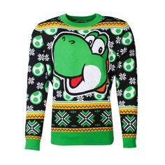 Nintendo Knitted Christmas Sweater Super Mario Yoshi Size L Difuzed Hoodies Yoshi, West Yorkshire, Super Mario Bros, Nintendo, Christmas Jumpers, Christmas Sweaters, Rose T-shirt, Unisex, Mario Bros.