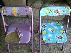 reupholstered metal kids chairs