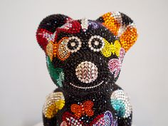 French Bruno by J. Captain Hat, Edelweiss, Teddy Bear, French, Hats, Art Sculptures, Rhinestones, Crystals, Bulldog Breeds