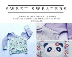 Super sweet panda and unicorn sweaters. Slow fashion for living. Handmade Clothes, Slow Fashion, French Terry, Panda, Kids Outfits, Unicorn, Buttons, Children, Sweet