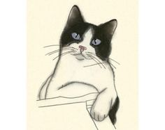 Tuxedo cat art drawing The Dinner Guest 4 X 6 by matouenpeluche
