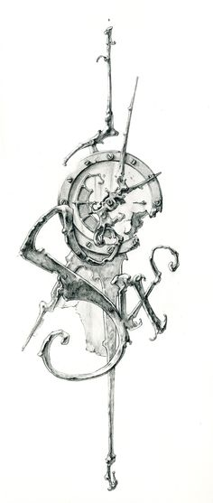 Eric Freitas conceptual sketch for his clock art. ... His clocks are incredible, abstract, Steampunk-inspired, fluid works of art :)