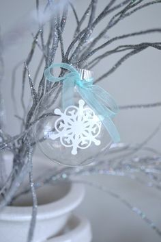 Lovely ornament at a Winter Wonderland party!  See more party ideas at CatchMyParty.com!  #partyideas  #winterwonderland
