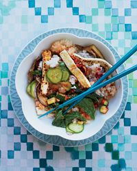 Crispy Tofu Bibimbap with Mustard Greens and Zucchini Recipe