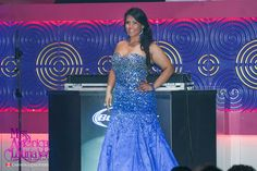 Miss Latina America in a stunning royal blue beaded gown by Nina Couture from Nina's Collection Boutique. Strapless Dress Formal, Formal Dresses, Miss America, Beaded Gown, Mermaid Gown, Beauty Pageant, Plus Size Dresses, Designer Dresses, Gowns