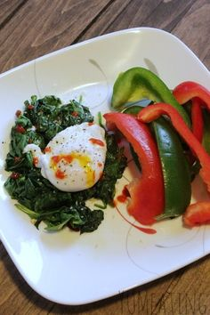 Sriracha Poached Egg and Spinach