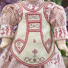 """Antique French Original Linen Apron for Jumeau Bru Steiner Eden bebe doll 17-19"""""""
