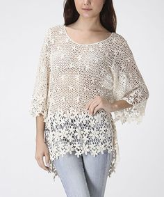 Take a look at the CottyOn Beige Floral Crocheted Hi-Low Tunic on #zulily today!