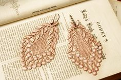 lace earrings VERONICA vintage blush by tinaevarenee on Etsy, $22.00