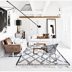 Metal + wood + black and white