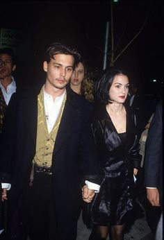 Johnny Depp and Winona Ryder at the Mermaids film premiere